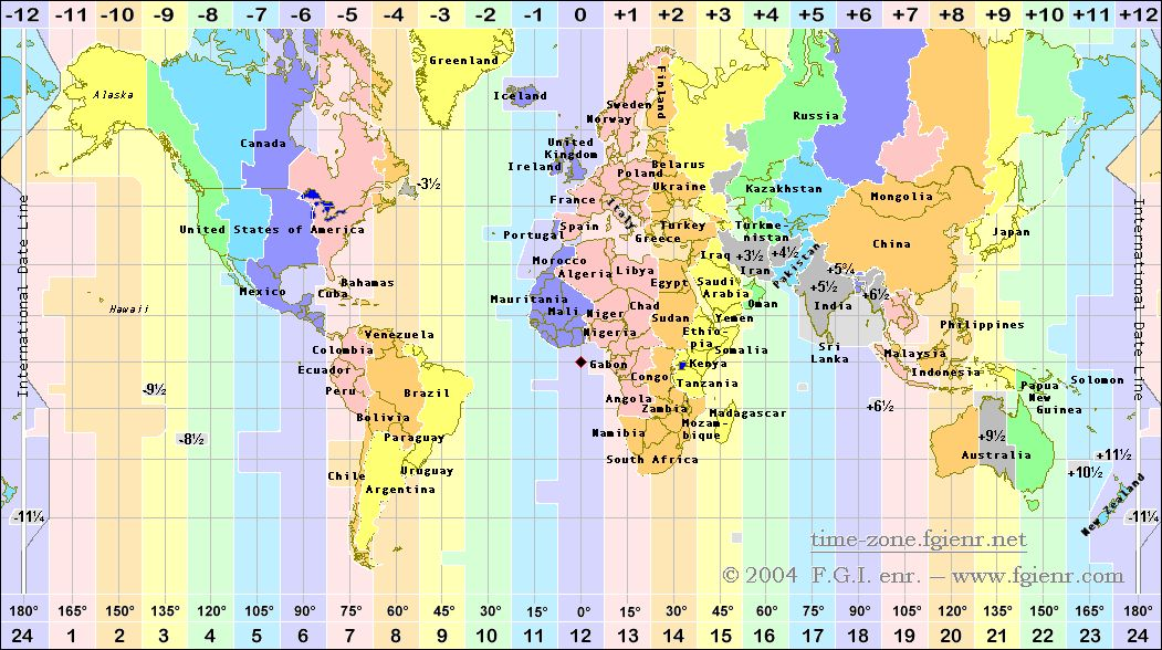 Time Zones Map - Check your time